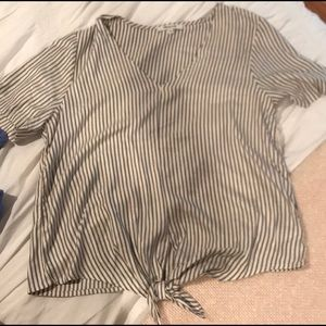 Madewell blue and white striped top worn once